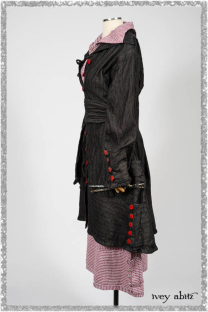 Pierrepont Duster Coat in Beacon Black and Red Pin Tuck Twill; Viv Frock in Red Sky at Night Stripe. Ivey Abitz bespoke clothing.