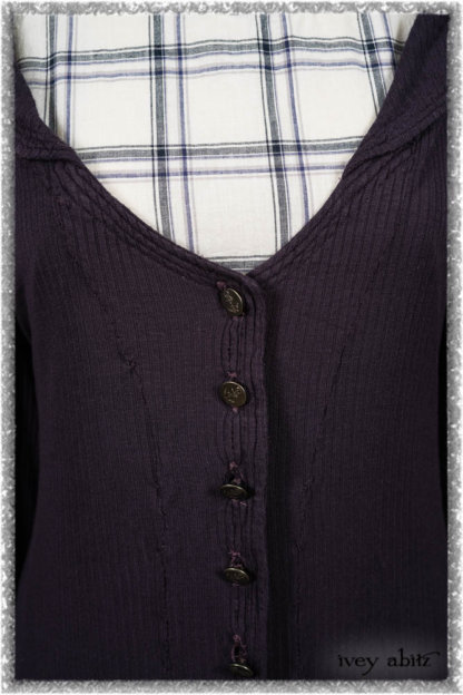 Henrietta Duster Coat in Plum Tree Softest Ribbed Knit; Fairholme Frock in Plum Tree Wispy Plaid Cotton. Ivey Abitz bespoke clothing.