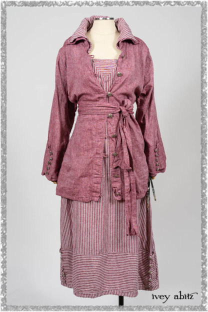 Pierrepont Shirt in Red Sky at Night Yarn Dyed Weave; Viv Frock in Red Sky at Night Stripe. Ivey Abitz bespoke clothing.