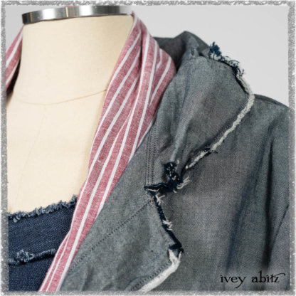 Glenclyffe Shirt in Estuary Wispy Washed Cotton; Clotaire Sash in Red Sky at Night Stripe; Glenclyffe Frock in Estuary Wondrous Washed Linen. Ivey Abitz bespoke clothing.