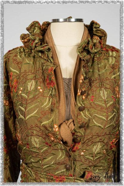 Grasmere Shirt in Woodlawn Vine Embroidered Washed Silk; Saint Ans Sash in Chestnut Tree Melange Knit; Hudson Frock in Earthen Washed Stripe Linen. Ivey Abitz bespoke clothing.