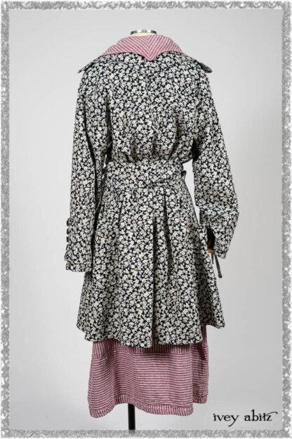Viv Coat Dress in National Seashore Floral Jacquard; Pierrepont Sash in National Seashore Pinstripe Voile; Viv Frock in Red Sky at Night Stripe. Ivey Abitz bespoke clothing.