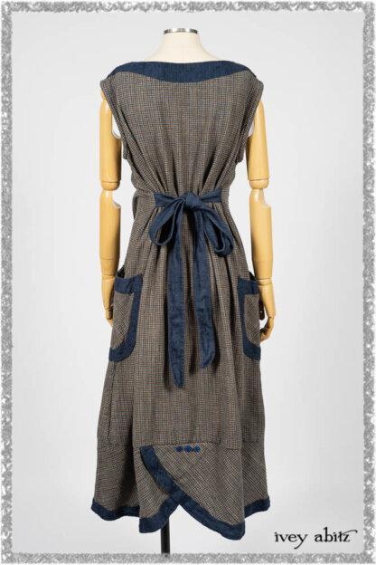 Sennen Frock in Estuary Petite Check with Estuary Wondrous Washed Linen details. Ivey Abitz bespoke clothing.