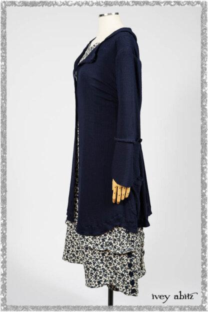 Harrison Shirt Jacket in National Seashore Washed Ribbed Knit; Harrison Frock in Estuary Floral Jacquard. Ivey Abitz bespoke clothing.