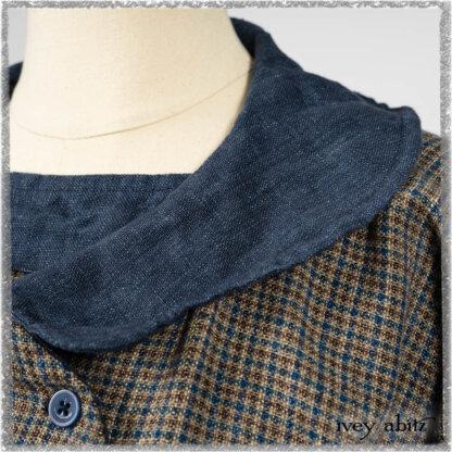 Sennen Jacket in Estuary Petite Check with Estuary Wondrous Washed Linen details; Sennen Frock in Estuary Petite Check with Estuary Wondrous Washed Linen details. Ivey Abitz bespoke clothing.