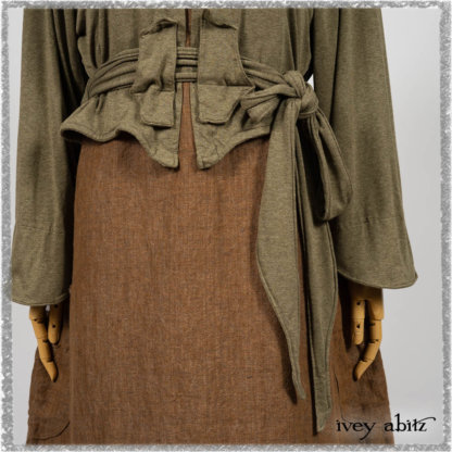 Saint Ans jacket in Woodlawn Melange Knit; Saint Ans Frock in Chestnut Tree Wondrous Washed Linen with mix of sculptural details in rare weaves. Ivey Abitz bespoke clothing.