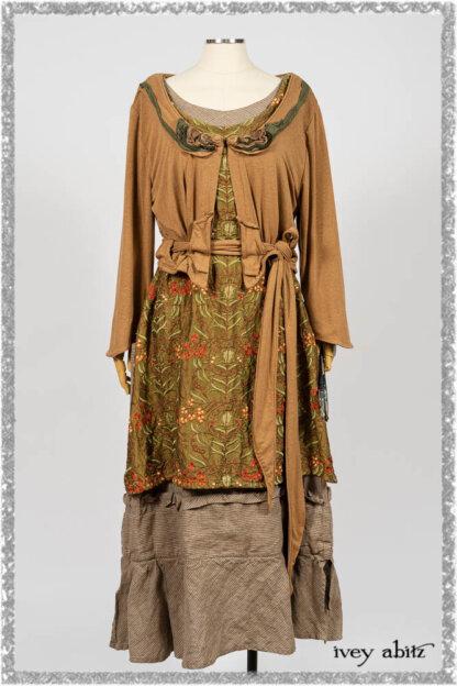 Saint Ans Jacket in Chestnut Tree Melange Knit; River Frock in Woodlawn Vine Embroidered Washed Silk; Hudson Frock in Earthen Washed Stripe Linen. Ivey Abitz bespoke clothing.