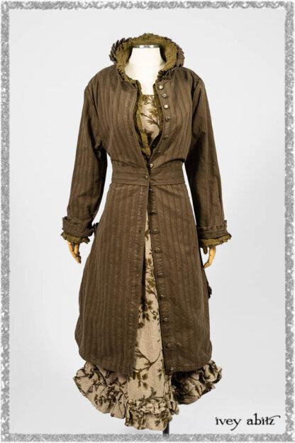 Mathilda Coat Dress in Woodlawn Variegated Stripe Weave; Canterbury Duster Coat in Woodlawn Cotton Silk Voile; Canterbury Frock in Woodlawn Floral Washed Linen. Ivey Abitz bespoke clothing.