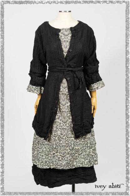 Mewland Jacket in Black Washed Crinkled Linen; Tollie Dress in Ethereal Cream and Black Fleur Stretch Cotton; Mewland Skirt in Black Washed Crinkled Linen. Ivey Abitz bespoke clothing.