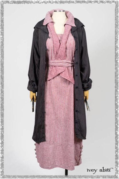 Viv Coat Dress in National Seashore Pinstripe Voile; Clotaire Sash in Red Sky at Night Yarn Dyed Weave; Viv Frock in Red Sky at Night Stripe. Ivey Abitz bespoke clothing.