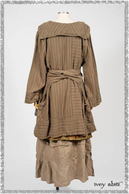 Hudson Duster Coat in Earthen Embroidered Stripe Gauze; River Frock in Woodlawn Vine Embroidered Washed Silk; Hudson Frock in Earthen Washed Stripe Linen. Ivey Abitz bespoke clothing.