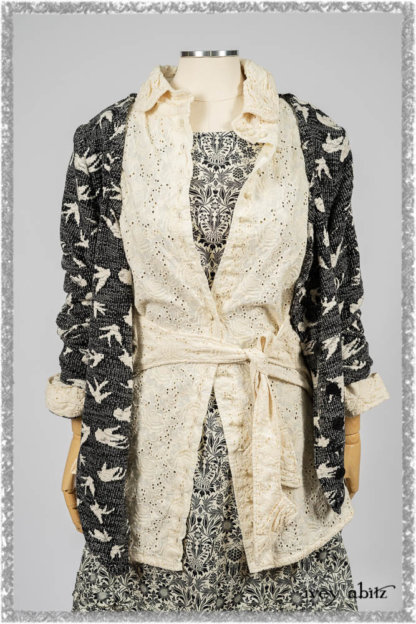 Tollie Shirt in Ethereal Cream Embroidered Voile; Elliot Jacket in Flora and Fauna Knit; Tollie Dress in Ethereal Cream and Black Fleur Stretch Cotton. Ivey Abitz bespoke clothing.