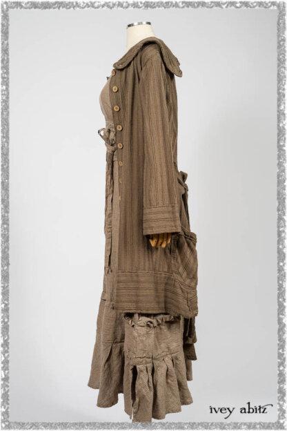 Hudson Duster Coat in Earthen Embroidered Stripe Gauze; Porte Cochere Frock in Earthen Washed Stripe Linen; Hudson Frock in Earthen Washed Stripe Linen. Ivey Abitz bespoke clothing.