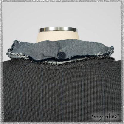 Trelawny Duster Coat in Estuary and Black Houndstooth on Pinstripe; Glenclyffe Shirt in Estuary Wispy Washed Cotton; Glenclyffe Frock in Estuary Wondrous Washed Linen. Ivey Abitz bespoke clothing.