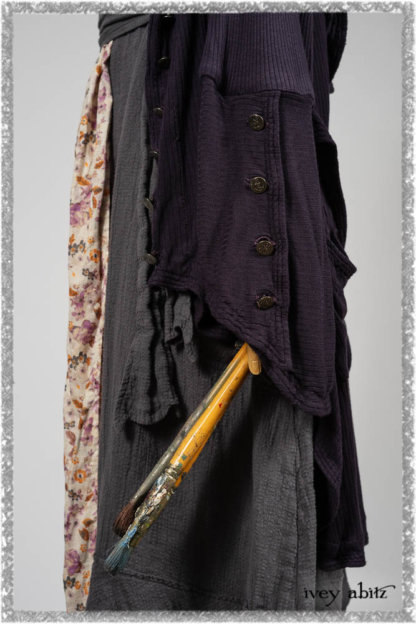 Henrietta Duster Coat in Plum Tree Softest Ribbed Knit; Blanchefler Sash in Ethereal Floral Cotton Voile; Viv Frock in Anchor Grey and Plum Washed Check. Ivey Abitz bespoke clothing.