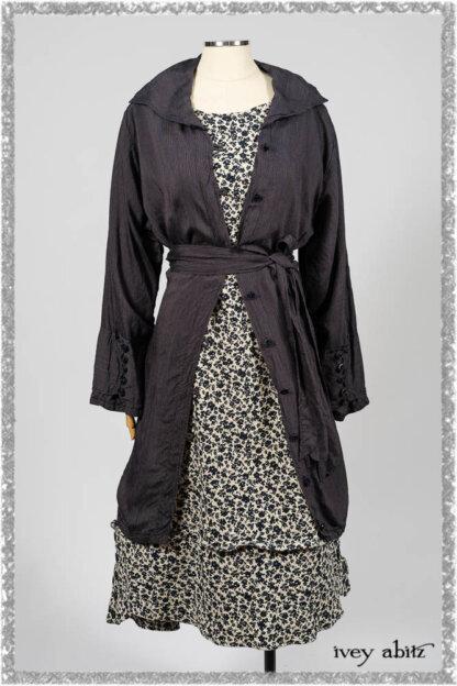 Viv Coat Dress in National Seashore Pinstripe Voile; Harrison Frock in Estuary Floral Jacquard. Ivey Abitz bespoke clothing.