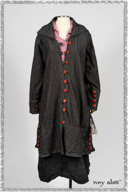 Pierrepont Duster Coat in Beacon Black and Red Pin Tuck Twill; Pierrepont Shirt in Red Sky at Night Yarn Dyed Weave; Mewland Skirt in Black Washed Crinkled Linen; Cilla Slip Frock in Beacon Black Washed Ribbed Knit. Ivey Abitz bespoke clothing.