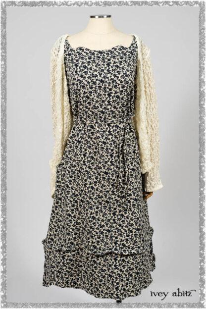 Elliot Jacket in Ethereal Cream Floral Knit; Harrison Frock in Estuary Floral Jacquard. Ivey Abitz bespoke clothing.