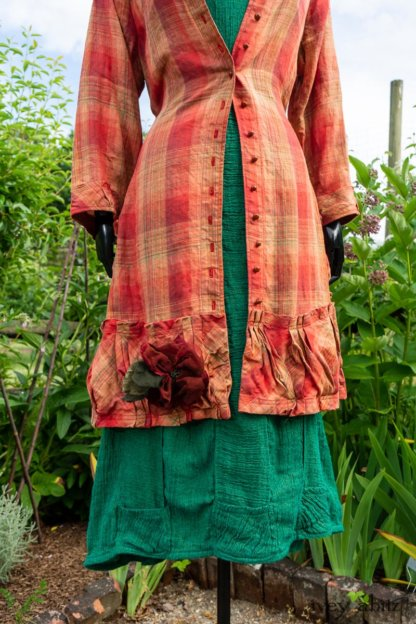 Gabled Duster Coat in Sunnyside Washed Plaid; Campanella Frock in Gracious Green Washed Crinkled Linen; Idyll Brooch in Rose Garden Silk Weaves. Ivey Abitz at Boscobel House and Gardens