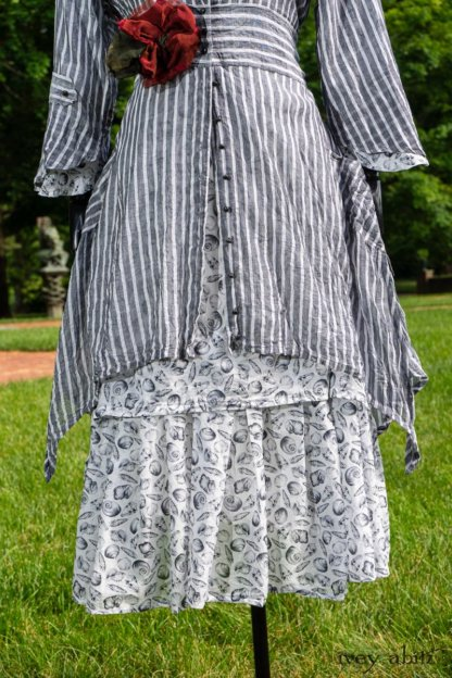 Baudelaire Duster Coat in Black and White Washed Stripe Voile; Blanchefleur Dress in Black and White Seashell Voile; Cilla Slip Frock in Peony Soft Ribbed Knit; Idyll Brooch in Rose Garden Silk Weaves. Ivey Abitz at Boscobel House and Gardens