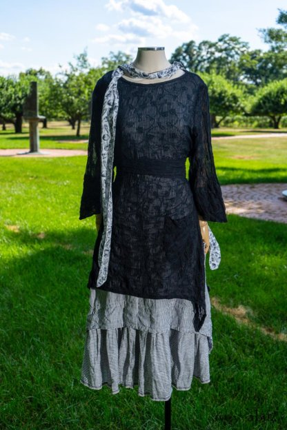 Delphine Dress in Black Embroidered Washed Voile; Limited Edition Blanchefleur Frock in Black and White Petite Stripe Linen; Blanchefleur Sash in Black and White Seashell Voile. Ivey Abitz at Boscobel House and Gardens