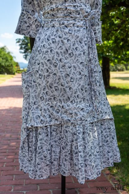 Blanchefleur Dress in Black and White Seashell Voile; Blanchefleur Sash in Black and White Seashell Voile; Limited Edition Blanchefleur Frock in Black and White Petite Stripe Linen. Ivey Abitz at Boscobel House and Gardens