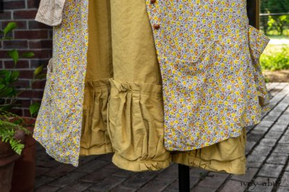 Porte Cochere Shirt Jacket in Yellow Days Stripe Cotton; Porte Cochere Frock in Yellow Days Floral Weave; Gabled Frock in Yellow Days Stretch Weave. Ivey Abitz at Boscobel House and Gardens