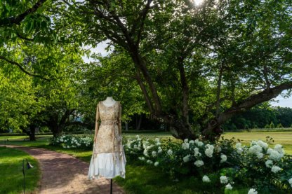 Wrennie Frock in Watercolour Silk Weave; Porte Cochere Sash in Watercolour Silk Weave; Fairholme Frock in Peony Washed Plaid Silk; Cilla Slip Frock in Peony Soft Ribbed Knit. Ivey Abitz at Boscobel House and Gardens
