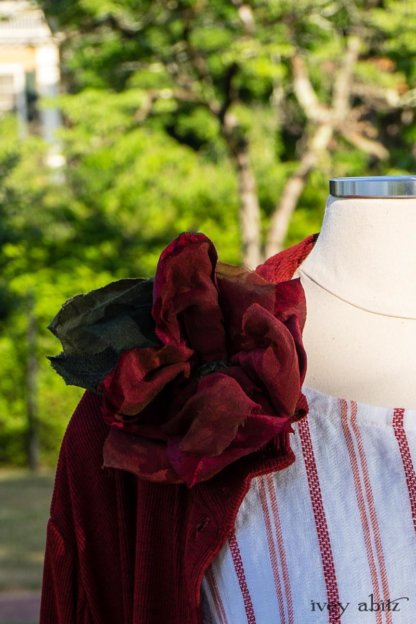 Bertie Jacket in Rose Garden and Black Soft Ribbed Knit; Idyll Brooch in Rose Garden Silk Weaves; Blanchefleur Sash in Sunnyside Floral Silk Chiffon; Grasmere Frock in Sunnyside Embroidered Stripe; Cilla Slip Frock in Peony Soft Ribbed Knit. Ivey Abitz at Boscobel House and Gardens
