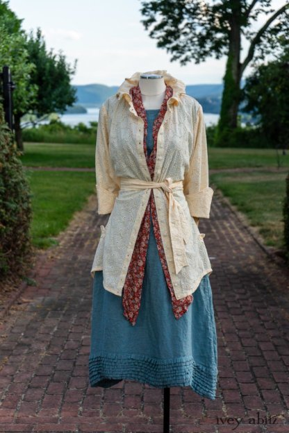 Grasmere Shirt in Cordelia Cream Floral Eyelet; Blanchefleur Sash in Sunnyside Floral Silk Chiffon; Thatched Frock in Seaside Washed Linen; Cilla Slip Frock in Peony Soft Ribbed Knit. Ivey Abitz at Boscobel House and Gardens