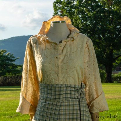 Grasmere Shirt in Cordelia Cream Floral Eyelet; Cilla Slip Frock in Peony Soft Ribbed Knit; Highlands Skirt in Seaside Peony Stretch Plaid. Ivey Abitz at Boscobel House and Gardens