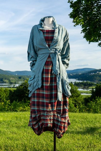 Scattergood Shirt Jacket in Seaside Washed Linen; Scattergood Frock in Seaside Rose Garden Washed Plaid; Cilla Slip Frock in Hudson Blue Soft Ribbed Knit. Ivey Abitz at Boscobel House and Gardens