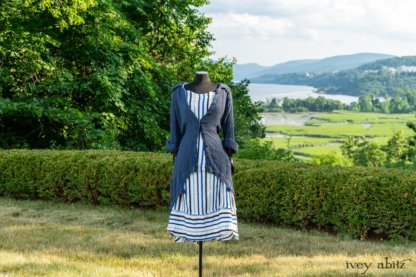 Chittister Shirt Jacket in Hudson Blue Washed Crinkled Linen; Harrison Frock in Hudson Blue Embroidered Stripe Voile; Cilla Slip Frock in Peony Soft Ribbed Knit. Ivey Abitz at Boscobel House and Gardens