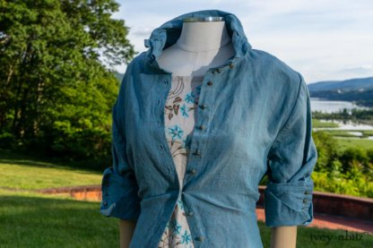 Scattergood Shirt Jacket in Seaside Washed Linen; Scattergood Frock in Seaside Floral Linen; Cilla Slip Frock in Peony Soft Ribbed Knit. Ivey Abitz at Boscobel House and Gardens