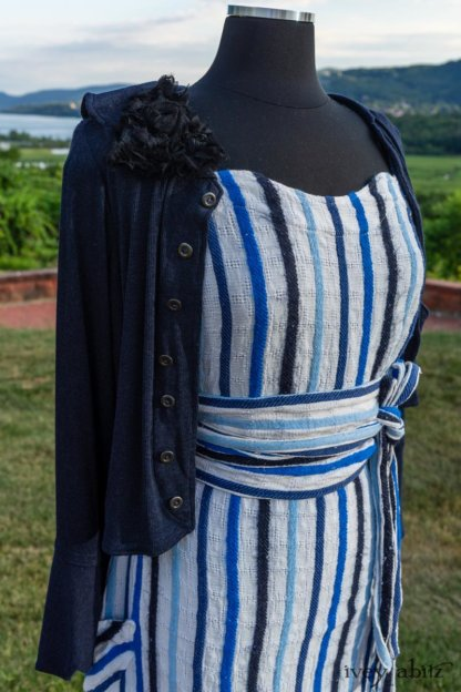 Harrison Frock in Hudson Blue Embroidered Stripe Voile; Porte Cochere Sash in Hudson Blue Embroidered Stripe Voile; Cilla Slip Frock in Peony Soft Ribbed Knit; Crest Jacket in Hudson Blue Soft Ribbed Knit; Soutache Brooch in Black Weaves. Ivey Abitz at Boscobel House and Gardens