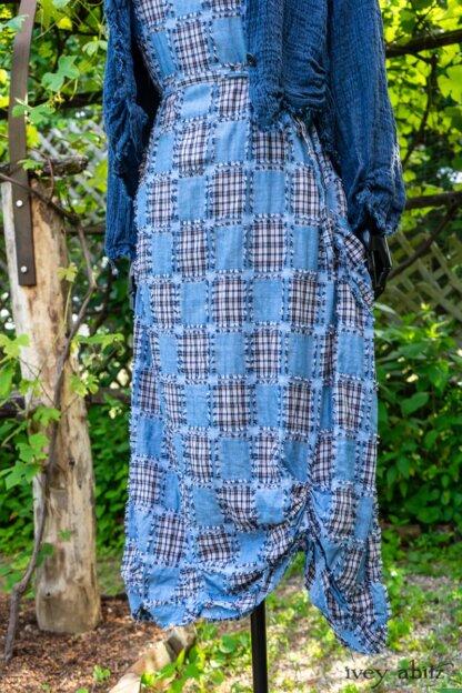 Au Sable Jacket in Hudson Blue Washed Crinkled Linen; Au Sable Frock in Hudson Blue Patch Plaid Voile; Cilla Slip Frock in Hudson Blue Soft Ribbed Knit. Ivey Abitz at Boscobel House and Gardens