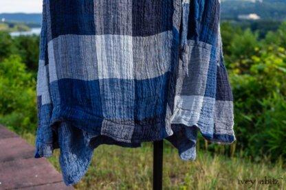 Chomley Frock in Hudson Blue Plaid Crinkled Linen; Chittister Frock in Buoy Blue Washed Crinkled Linen; Crest Jacket in Hudson Blue Soft Ribbed Knit; Soutache Brooch in Black Weaves. Ivey Abitz at Boscobel House and Gardens