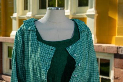 Campanella Shirt Jacket in Gracious Green Petite Plaid; Campanella Frock in Gracious Green Washed Crinkled Linen, Cilla Slip Frock in Peony Soft Ribbed Knit. Ivey Abitz at Boscobel House and Gardens