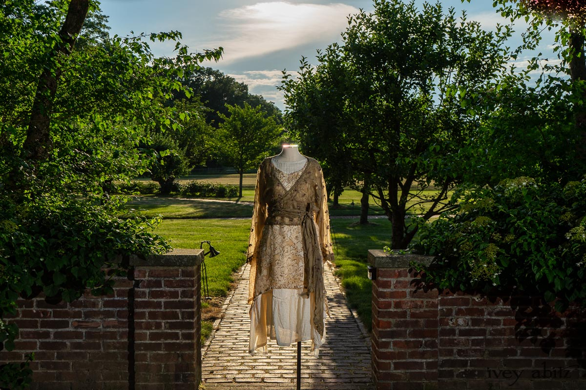 Montmorency Wrap Jacket in Sandy Embroidered Silk Organza; Wrennie Frock in Watercolour Silk Weave; Fairholme Frock in Peony Washed Plaid Silk; Cilla Slip Frock in Peony Soft Ribbed Knit. Ivey Abitz at Boscobel House and Gardens