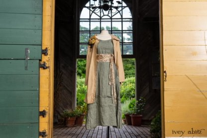 Porte Cochere Shirt Jacket in Yellow Days Washed Stripe Cotton; Porte Cochere Sash in Watercolour Silk Weave; Idyll Brooch in Yellow Days Weaves; Hudson Frock in Herb Garden Washed Linen. Ivey Abitz at Boscobel House and Gardens