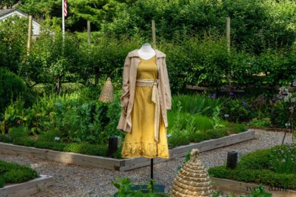 Porte Cochere Shirt Jacket in Yellow Days Washed Stripe Cotton; Blanchefleur Sash in Yellow Days Floral Weave; Gabled Frock in Yellow Days Washed Stretch Weave. Ivey Abitz at Boscobel House and Gardens