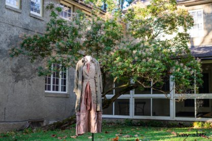 Gabled Duster Coat in Peace and Civility Stripe Linen; Gabled Shirt Jacket in Civility Washed Linen; Blanchefleur Sash in Peace Tufted Dot Voile; Hudson Frock in Peace Washed Linen. Location: Beside Val-Kill Cottage and former Val-Kill Furniture Factory. Eleanor Roosevelt National Historic Site. Hyde Park, New York.