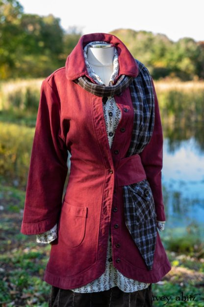 Montague Jacket in Independence Washed Cord; Baedeker Scarf in Dignity Soft Plaid Flannel; Pierrepont Shirt in Dignity Washed Vine Silk; Harrison Frock in Dignity Embroidered Looped Stripe Challis; Cilla Slip Frock in Unity Soft Ribbed Knit. Location: Beside creek and entrance to Eleanor Roosevelt National Historic Site.