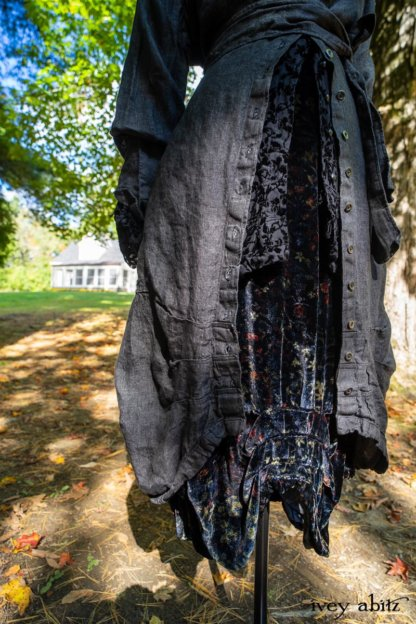 Scattergood Duster Coat in Unity Washed Linen; Scattergood Shirt Jacket in Unity Velvet Vine on Silk Chiffon; Scattergood Frock in Unity Floral Silk Velvet. Location: View of Stone Cottage from bridge at the Eleanor Roosevelt National Historic Site.