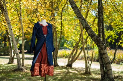 Chittister Duster Coat in Liberty Pin Tuck Twill, Nook Frock in Independence Washed Silk Chiffon; Inglenook Frock in Independence Floral Linen; Blanchefleur Sash in Independence Floral And Vine Weave.  Location: Under the birch trees next to pond where Eleanor hosted many picnics from local school children to world dignitaries. Eleanor Roosevelt National Historic Site. Val-Kill, Hyde Park, New York.