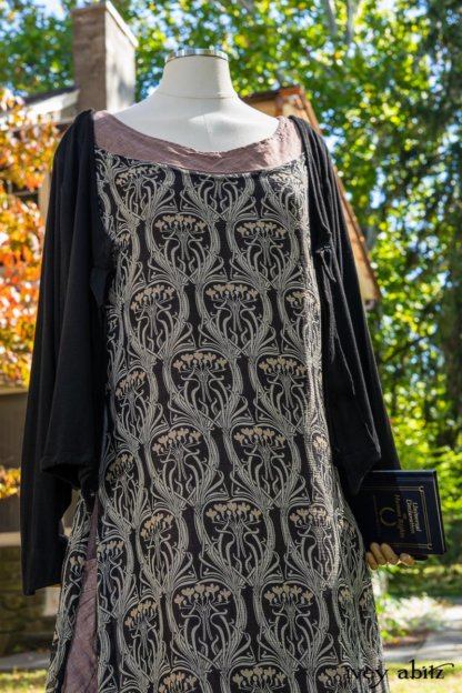 Chevallier Cardigan in Unity Soft Ribbed Knit; River Frock in Unity Art Nouveau Silk Chiffon; Hudson Frock in Peace Washed Linen. Location: Entrance to front porch of Val-Kill Cottage. Eleanor Roosevelt National Historic Site. Hyde Park, New York.