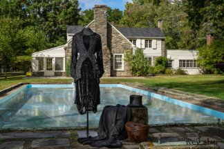 Scattergood Shirt Jacket in Unity Velvet Vine on Silk Chiffon; Scattergood Frock in Unity Floral Silk Velvet; Scattergood Duster Coat in Unity Washed Linen (draped next to top hat). Location: Pool where Winston Churchill swam when vistiting Val-Kill. Eleanor Roosevelt National Historic Site.