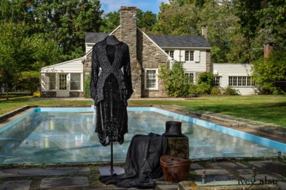 Scattergood Shirt Jacket in Unity Velvet Vine on Silk Chiffon; Scattergood Frock in Unity Floral Silk Velvet; Scattergood Duster Coat in Unity Washed Linen (draped next to top hat). Location: Pool where Winston Churchill swam when visiting Val-Kill. Eleanor Roosevelt National Historic Site.