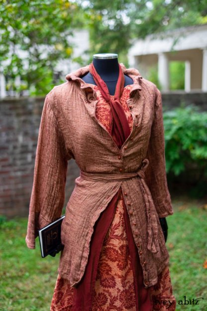 Grasmere Shirt in Independence Washed Crinkled Weave; Blanchefleur Sash in Independence Washed Silk Chiffon; Inglenook Frock in Independence Floral Linen. Location: Behind walled garden and Stone Cottage at the Eleanor Roosevelt National Historic Site.