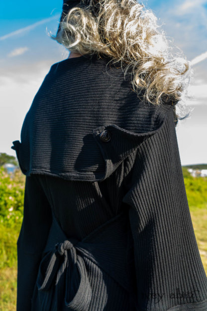 Henrietta Duster Coat in Beacon Black Washed Ribbed Knit; Cape Frock in Cape Rose Washed Linen. Ivey Abitz Bespoke Clothing.